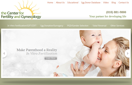 Website for the Center for Fertility and Gynecology