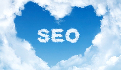 Heart-shaped clouds with SEO in center