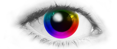 Eye with color wheel cornea