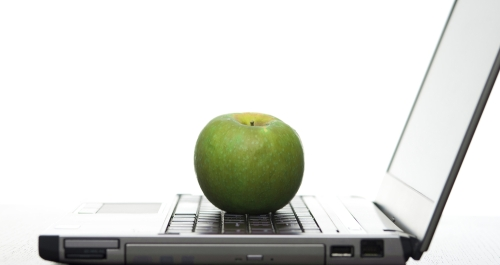 apple on a computer keyboard