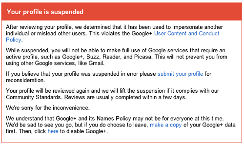 Google Account Suspension