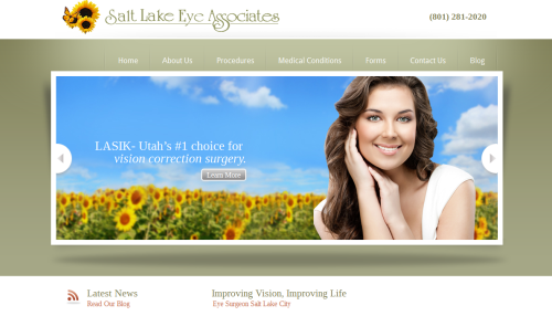 Image of the website for Salt Lake Eye Associates