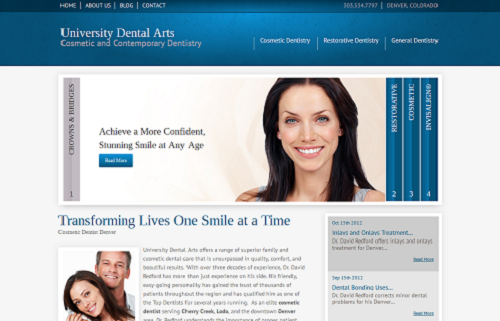 University Dental Arts website, developed by Einstein Medical