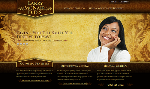 The website of Larry McNair, D.D.S., developed by Einstein Medical