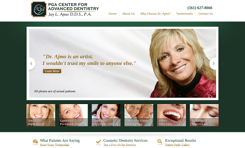 The Einstein Medical website for Dr. Jay Ajmo's cosmetic dentistry practice