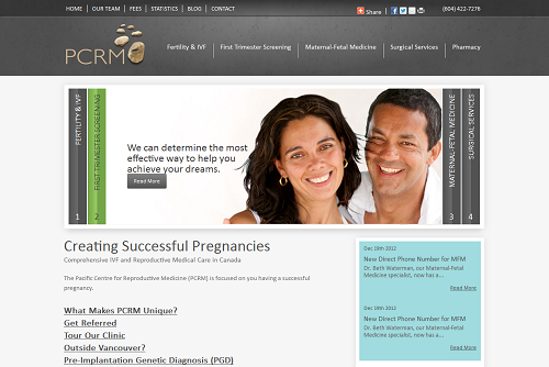 New Einstein Medical website for PCRM, a fertility clinic in Vancouver, BC