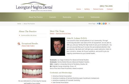 New Lexington Heights Dental website, produced by Einstein Medical