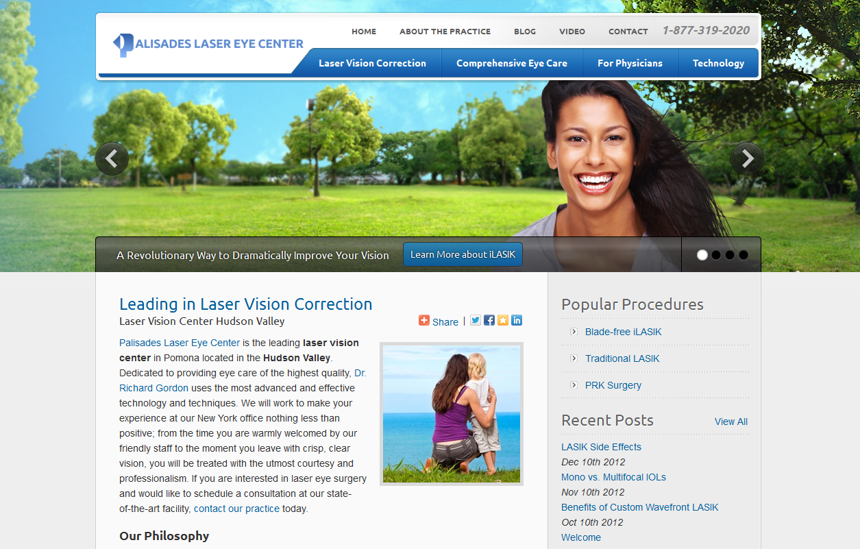 The new Einstein Medical website of Palisades Laser Eye Center