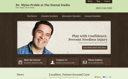 The new Einstein Medical website for cosmetic dentist Myles Preble