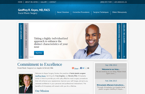 Einstein Medical website for facial plastic surgeon Geoffrey R. Keyes