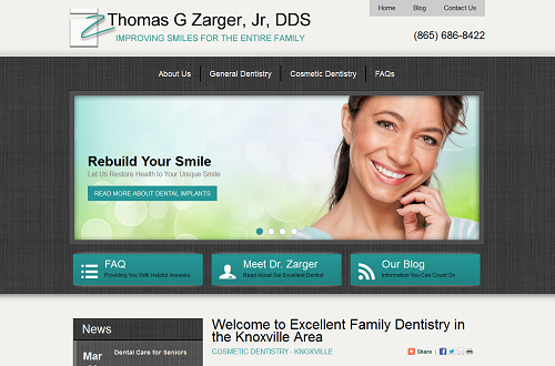 The new Einstein Medical website of cosmetic dentist Thomas G. Zarger, Jr.