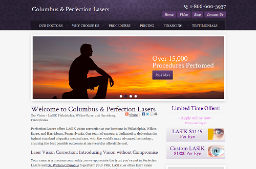 Columbus & Perfection Lasers ophthalmology website