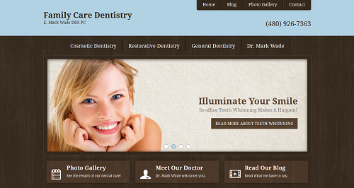 New Einstein Medical website for Dr. E. Mark Wade of Family Care Dentistry