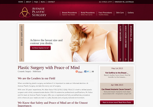 The new Einstein Medical website for Avenue Plastic Surgery