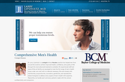 The new Einstein Medical urology website for Dr. Larry Lipshultz