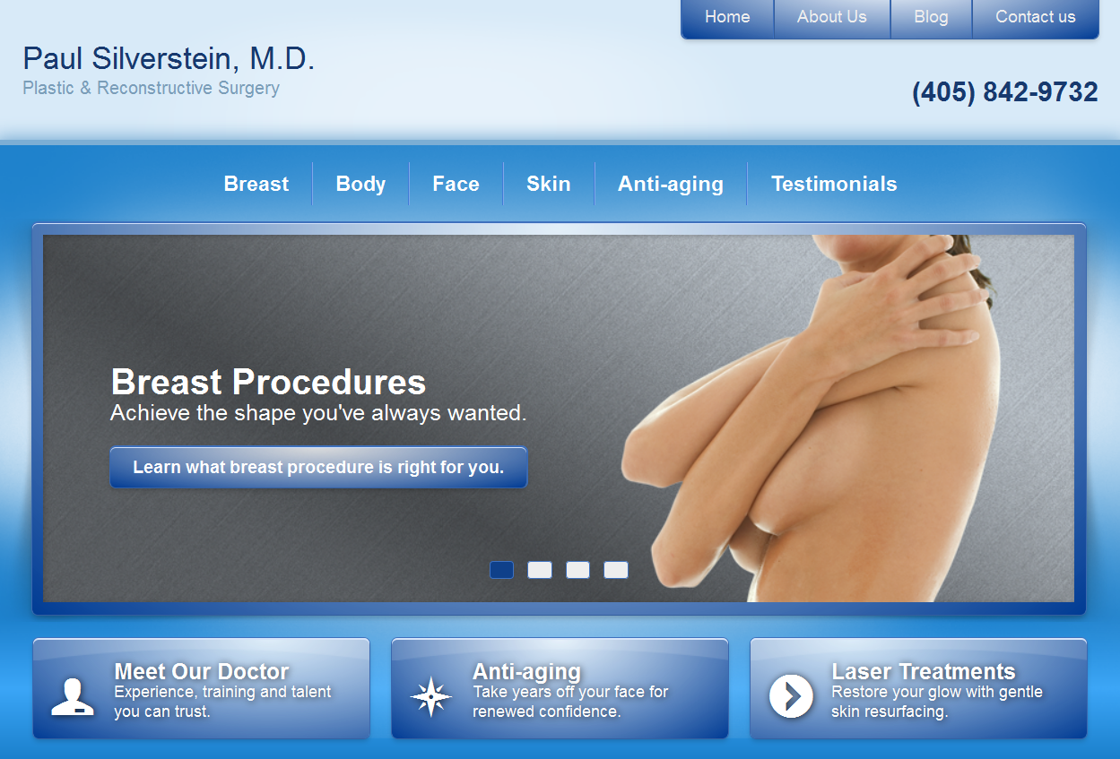 Plastic surgeon Paul Silverstein's new Einstein Medical website
