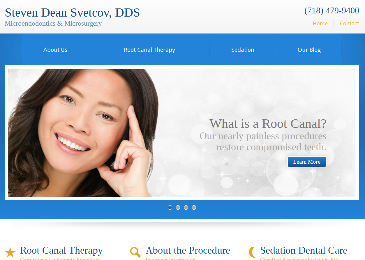 The new Einstein Medical website for Steven Dean Svetcov, DDS