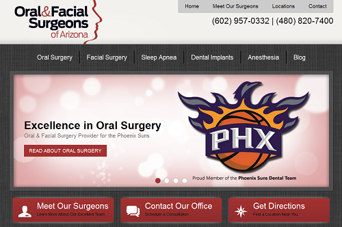 The new EInstein Medical website for Oral & Facial Surgeons of Arizona