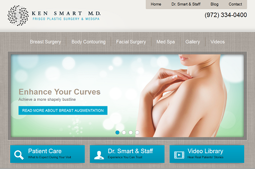 The new Einstein Medical website for Ken Smart of Frisco Plastic Surgery & Medspa
