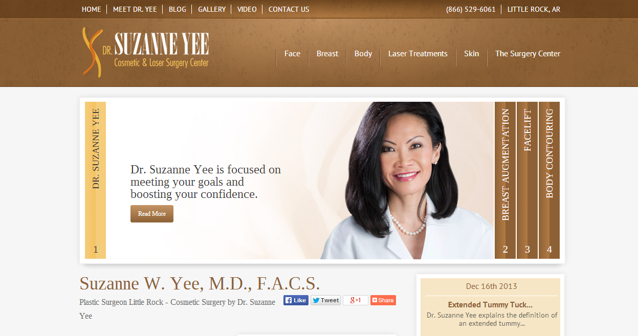 The website of plastic surgeon Suzanne Yee