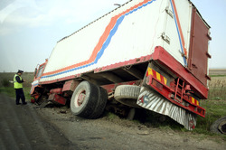 A large truck that has been in a serious accident