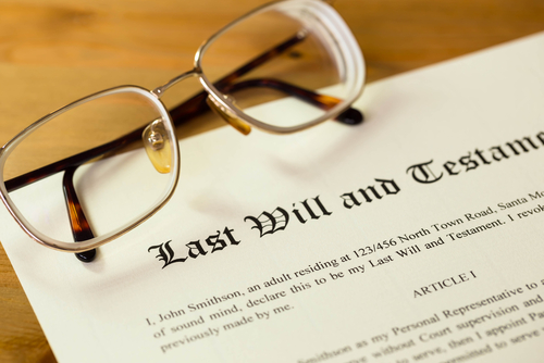 Glasses on top of a will