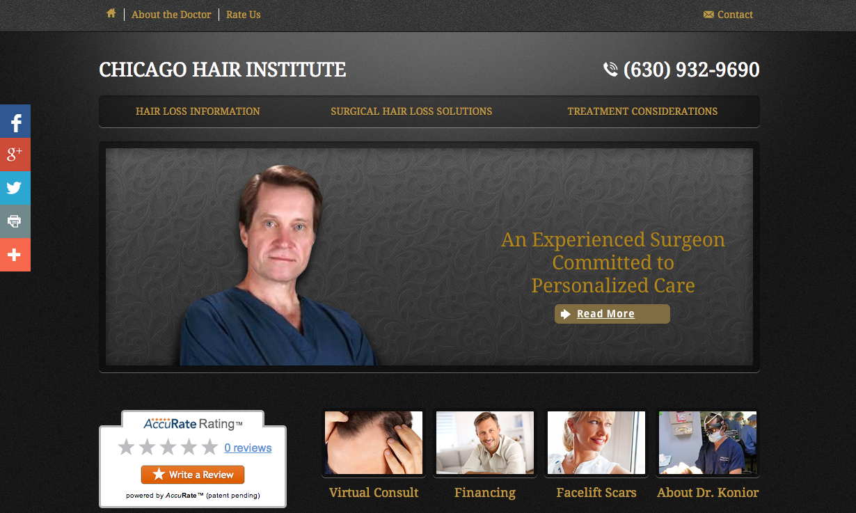 New Einstein Medical website for Chicago Hair Institute