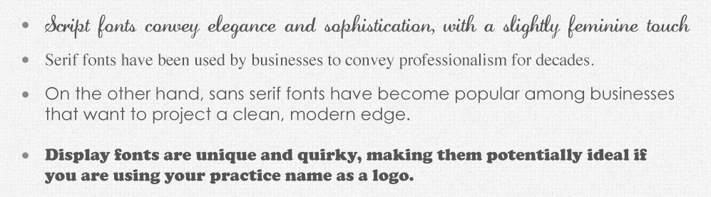 Various kinds of font faces