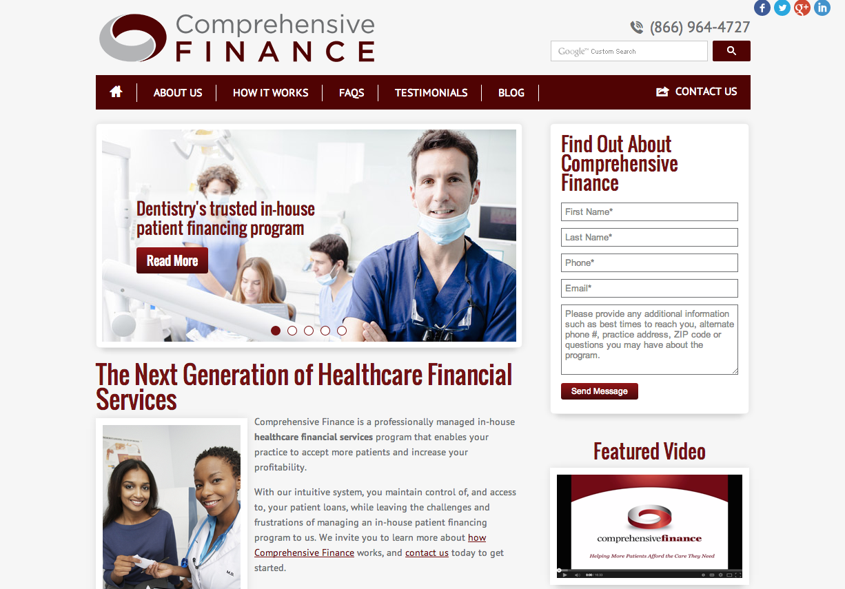 The new Einstein Medical website for Comprehensive Finance
