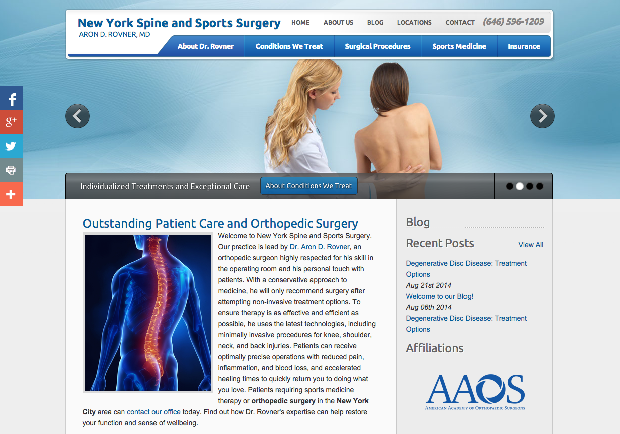 New Einstein Medical Lucid CMS® website for New York Spine and Sports Surgery
