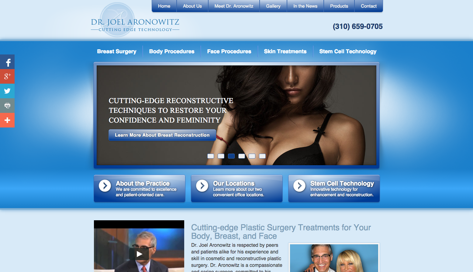 New Einstein Medical website for Aronowitz Plastic Surgery