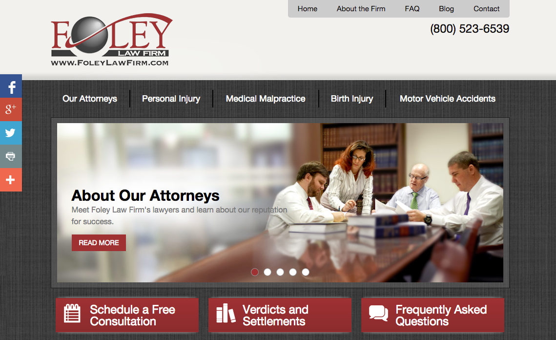 The new Foley Law Firm Lucid CMS website, created by Einstein Law