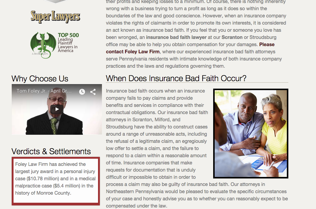 The Insurance Bad Faith page of the new Foley Law Firm website