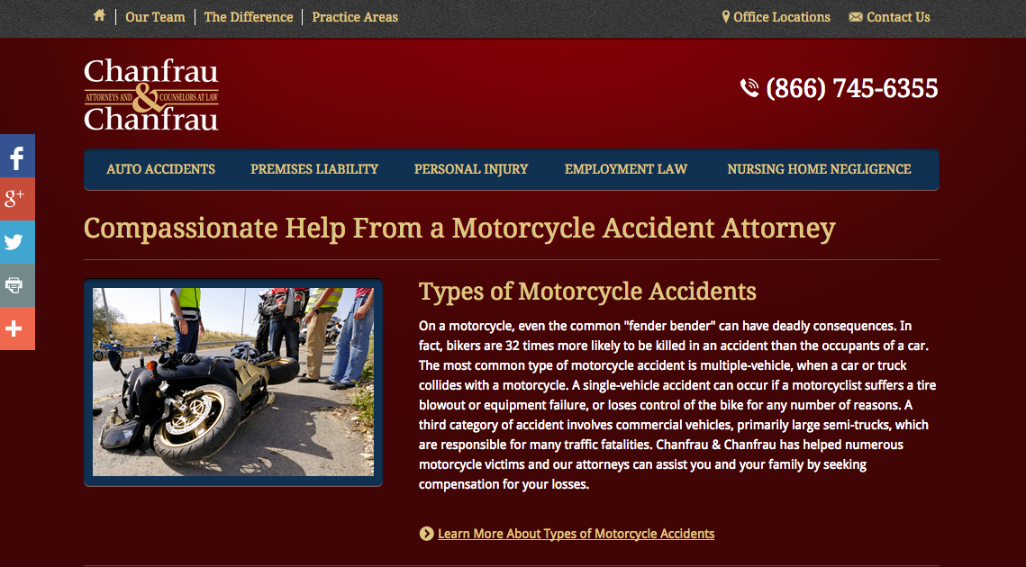 The Motorcycle Accidents page of the new Chanfrau & Chanfrau website