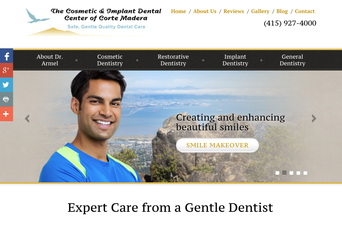 Einstein Medical website for Dr. Joe Armel and Cosmetic & Implant Dental Center of Corte Madera