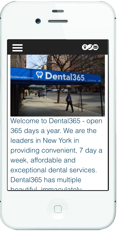 iPhone view of Dental365 website number 1