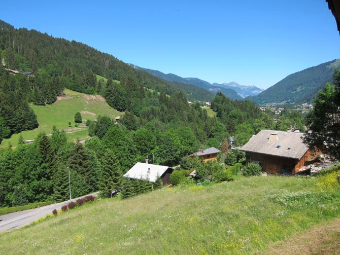 Morzine on the French Alps in summer and Chalet in Morzine