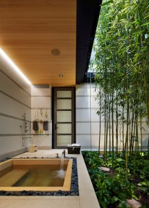 A Japanese garden sets a relaxing atmosphere for the homeowners; James Loudspeaker speaker deliver music to the area.