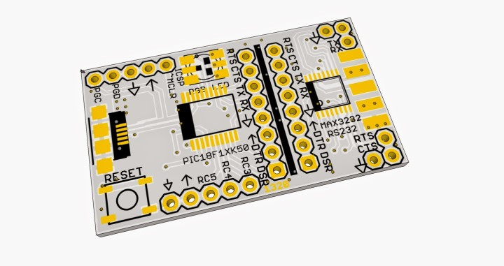 PIC18F14K50 USB Breakout Board with RS232
