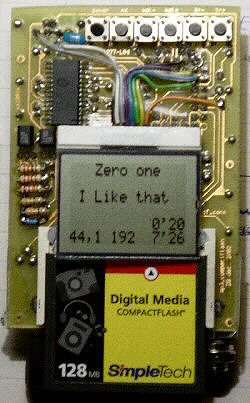 Graphic LCD add-on for CompactFlash MP3 player