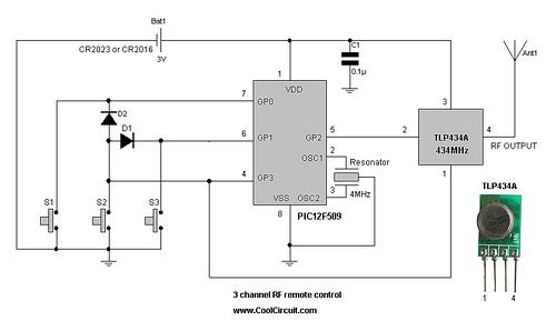3 channel RF remote control