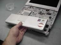 Toshiba Portege A100, How to remove laptop system board and replace CPU fan.
