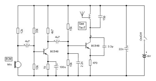 Voice Transmitter Via FM Band 2 VHF by Hartley Oscillator