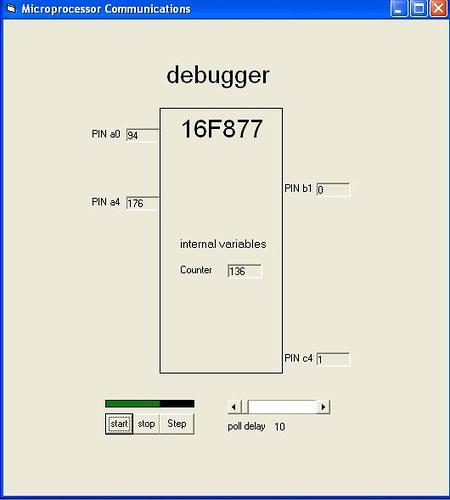 In-circuit debugging using PIC16F877