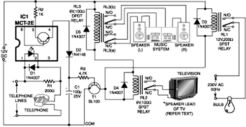 Telephone Line Based Audio Muting and Light-On Circuit