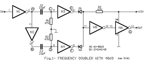 Frequency doubler with 4069