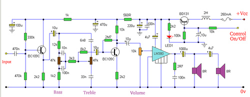 Amp with Tone Controls and Soft Switching