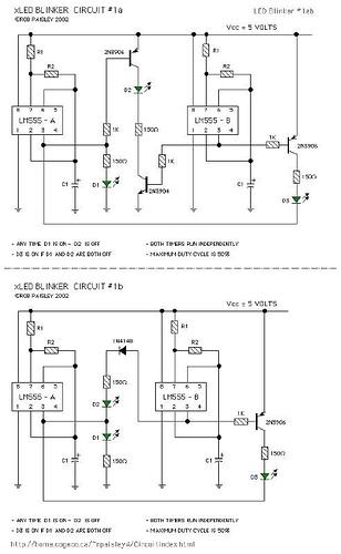 Various LM555 LED Blinker Circuits