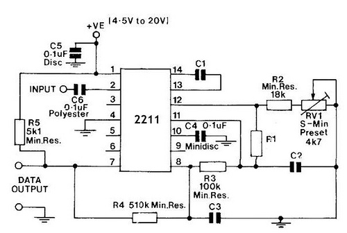 fsk demodulator tone decoder with rc2211n