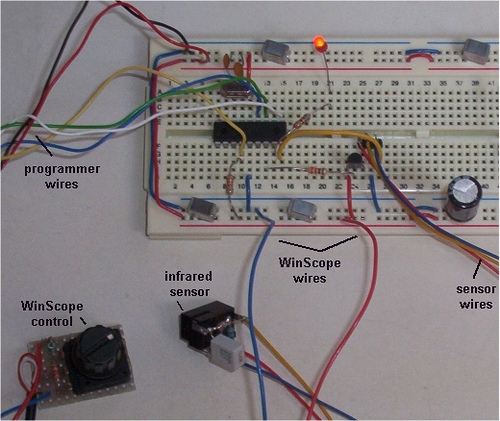 Object Detector using PIC16F877 and GP2Y0D340K